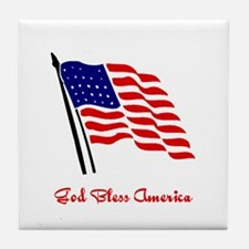 God Bless America Flag Tile Coaster