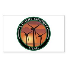 Living Green Utah Wind Power Rectangle Decal