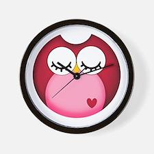 Dark Pink Owl Wall Clock