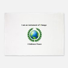 Instrument of Change I Embrace Peace 5'x7'Area Rug