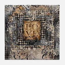 Vintage Love Romance Scroll Art Tile Coaster