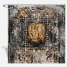 Vintage Love Romance Scroll Art Shower Curtain