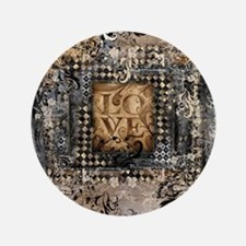 Vintage Love Romance Scroll Art Button