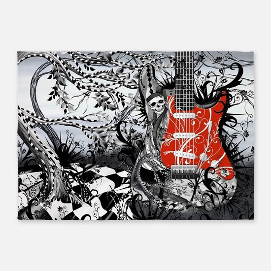 Guitar Rock Band Music Art by Julee 5'x7'Area Rug
