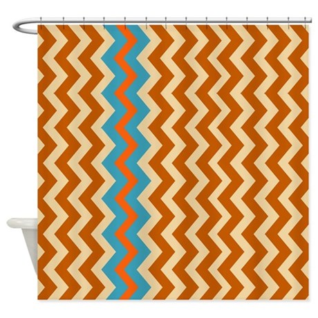 Western Chevron With Blue Shower Curtain