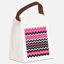 Pink and Black Mixed Zigzags Canvas Lunch Bag