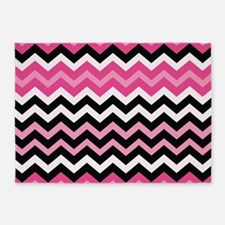 Pink and Black Mixed Zigzags 5'x7'Area Rug