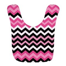 Pink and Black Mixed Zigzags Bib