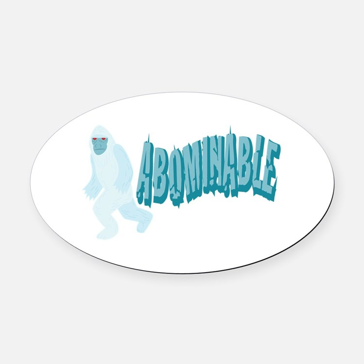 Abominable Yeti Oval Car Magnet