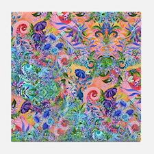 Colorful Flower Garden Landscape Happ Tile Coaster