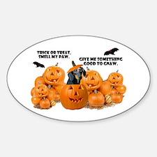 Dachshund Halloween (Black & Tan) Oval Decal