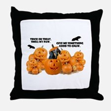 Dachshund Halloween (Black & Tan) Throw Pillow