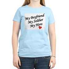 My Boyfriend, Soldier, Hero Women's Pink T-Shirt
