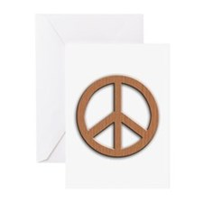 Wood Texture Look Peace Sign Greeting Cards (Pk of