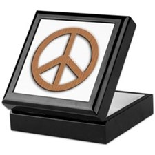 Wood Texture Look Peace Sign Keepsake Box