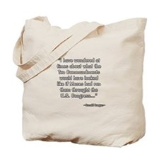 President Reagan on Ten Commandments Tote Bag