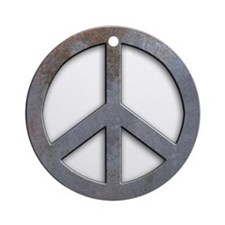 Distressed Metal Peace Sign Ornament (Round)