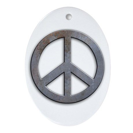 Distressed Metal Peace Sign Oval Ornament
