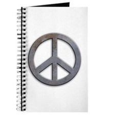 Distressed Metal Peace Sign Journal