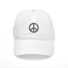 Distressed Metal Peace Sign Baseball Cap