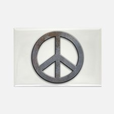 Distressed Metal Peace Sign Rectangle Magnet