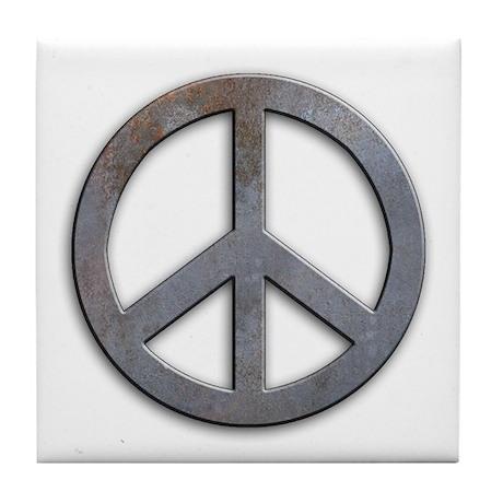 Distressed Metal Peace Sign Tile Coaster