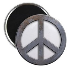 Distressed Metal Peace Sign Magnet