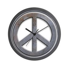 Distressed Metal Peace Sign Wall Clock