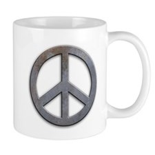 Distressed Metal Peace Sign Mug