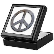 Distressed Metal Peace Sign Keepsake Box