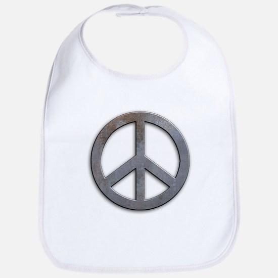 Distressed Metal Peace Sign Bib