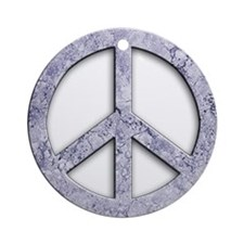 Marble Texture Peace Sign Ornament (Round)