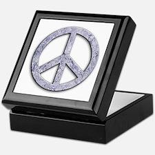 Marble Texture Peace Sign Keepsake Box