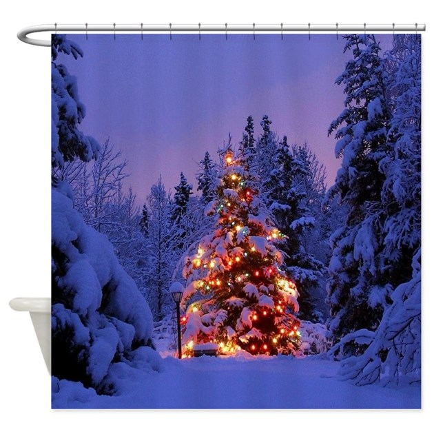 Christmas Tree With Lights Shower Curtain By WickedDesigns4