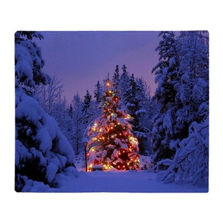 Christmas Tree With Lights Throw Blanket by WickedDesigns4