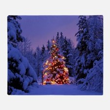Christmas Tree With Lights Throw Blanket