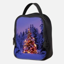 Christmas Tree With Lights Neoprene Lunch Bag