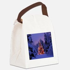 Christmas Tree With Lights Canvas Lunch Bag