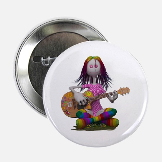 """Hippy Chick ~ Peace and Love 2.25"""" Button"""