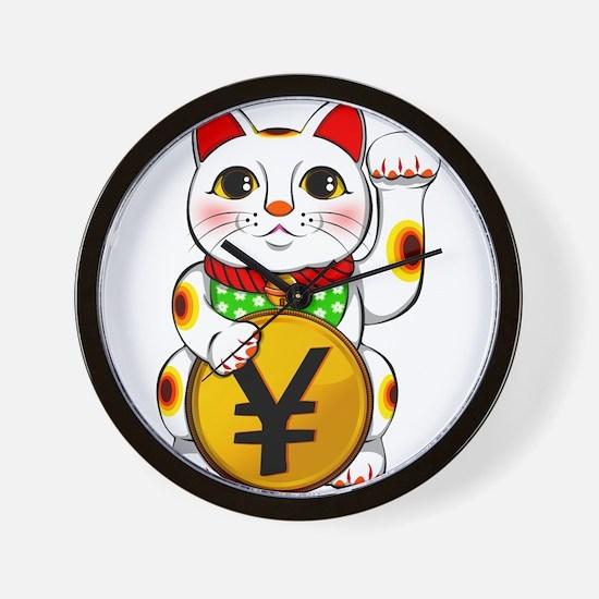 Yen Yuan Lucky Cat Maneki Neko Wall Clock