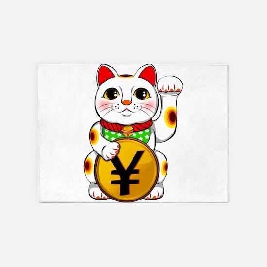 Yen Yuan Lucky Cat Maneki Neko 5'x7'Area Rug