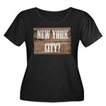 New York City? Women's Plus Size Scoop Neck Dark T