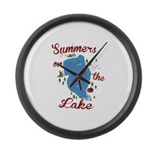 Summers On Lake Large Wall Clock