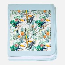 Vintage Chic Pinapple Tropical Hibisc baby blanket