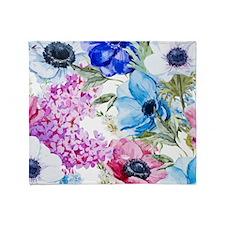 Vintage Chic Pink Floral Throw Blanket