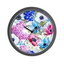 Vintage Chic Pink Floral Wall Clock
