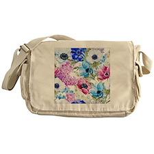 Vintage Chic Pink Floral Messenger Bag