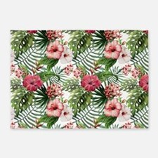 Vintage Chic Tropical Hibiscus Flor 5'x7'Area Rug