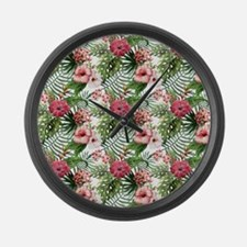 Vintage Chic Tropical Hibiscus Fl Large Wall Clock