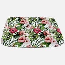 Vintage Chic Tropical Hibiscus Floral Bathmat